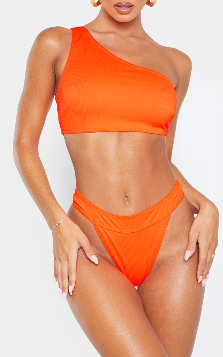 Orange Ribbed Thong Bikini Bottom 1