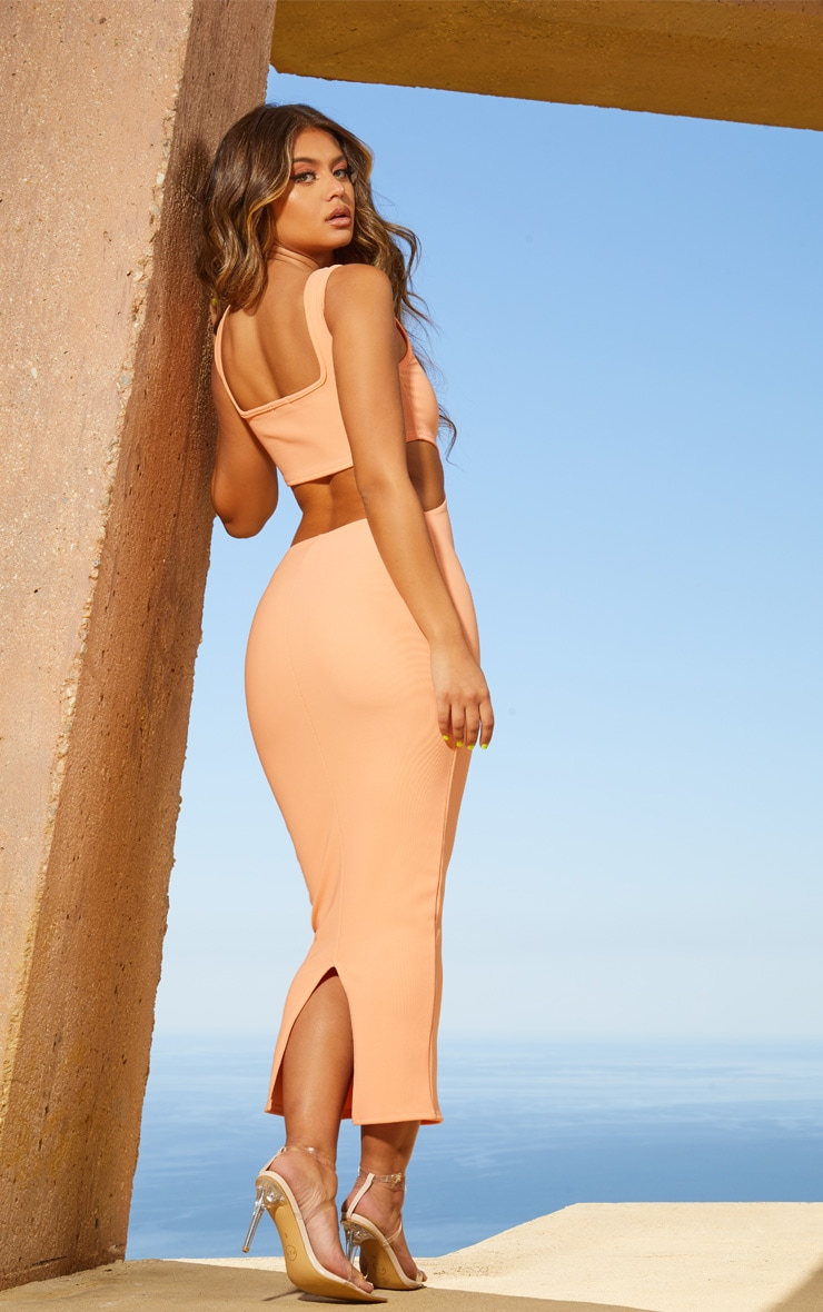 Peach Second Skin Square Neck Cut Out Midaxi Dress 2