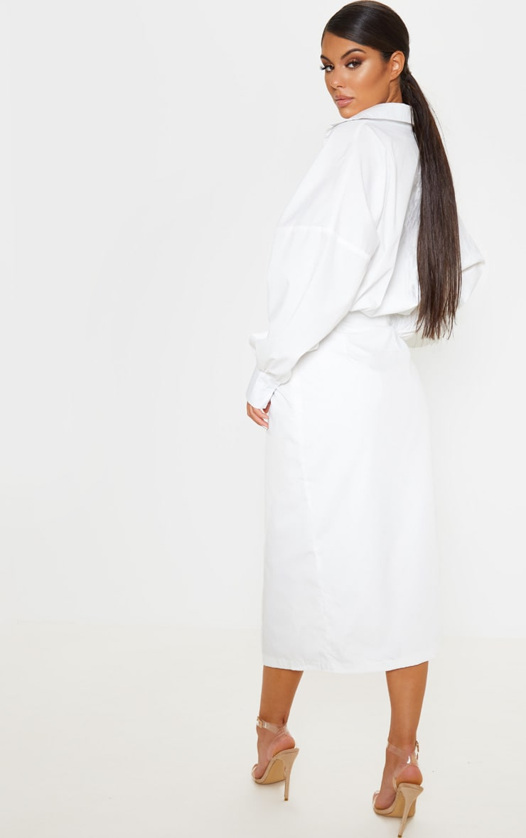 White Midi Shirt Dress 2