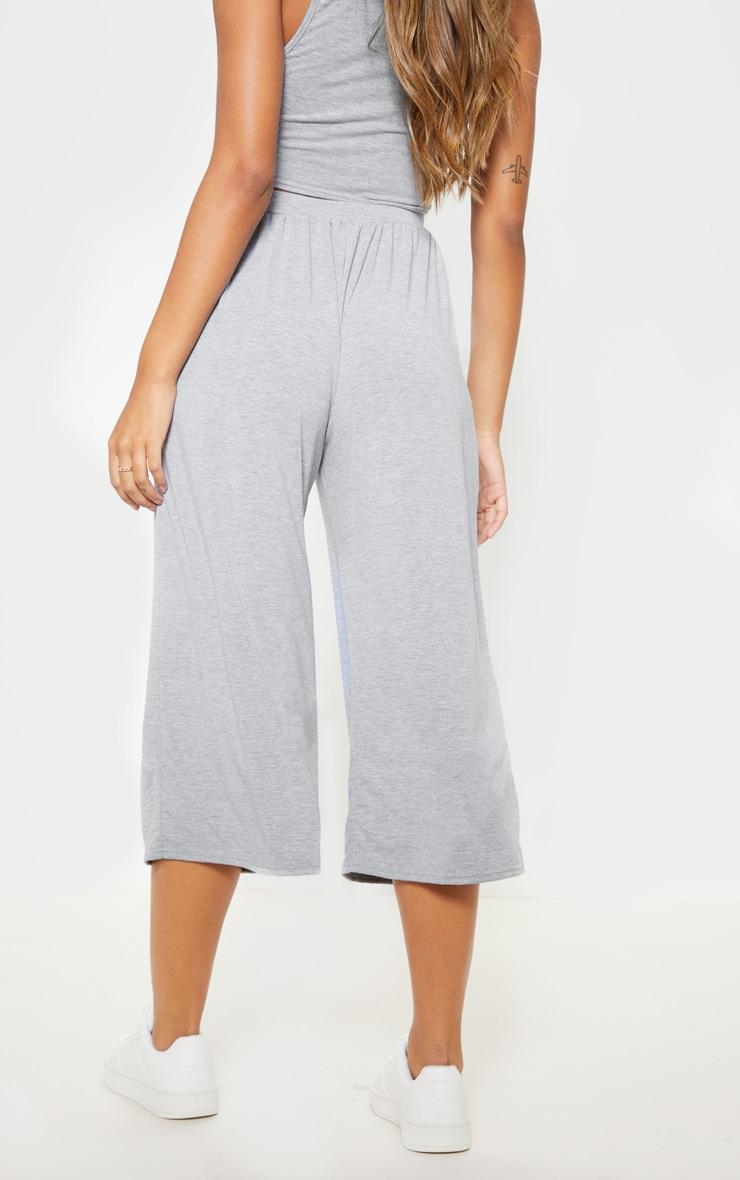 Grey Marl Gathered Waist Tie Detail Wide Leg Culotte 4
