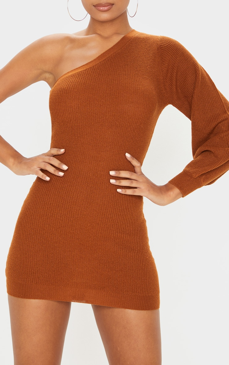 Brown Knitted One Shoulder Bodycon Dress 6