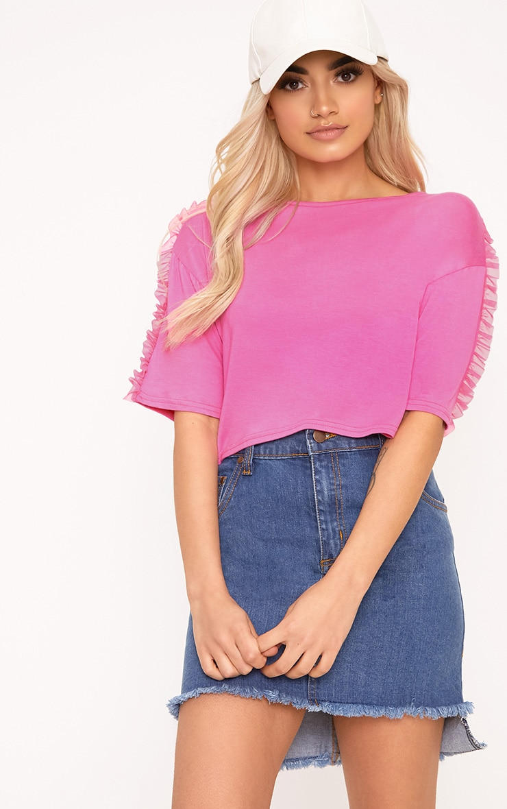 Hot Pink Mesh Tulle Frill T Shirt 1