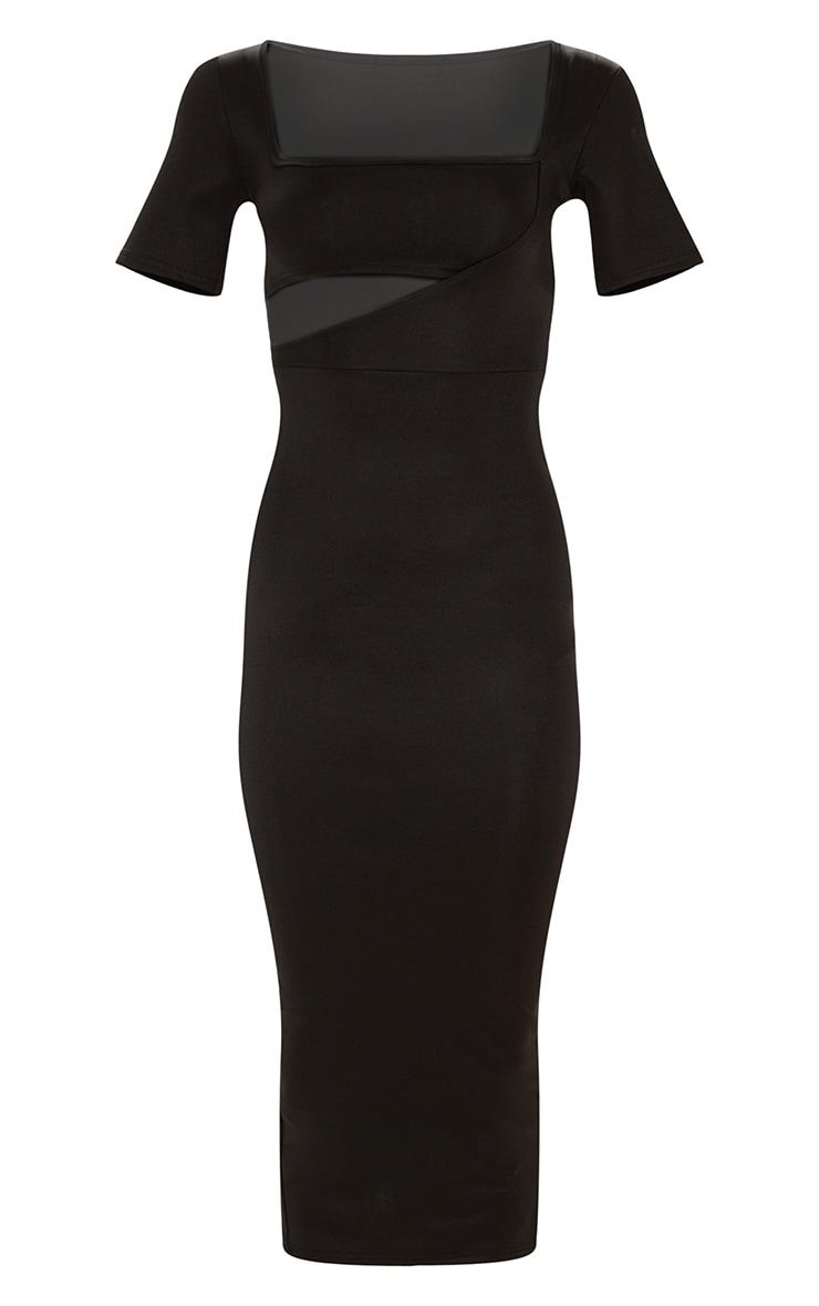 Plus Black Second Skin Square Neck Cut Out Midaxi Dress 3