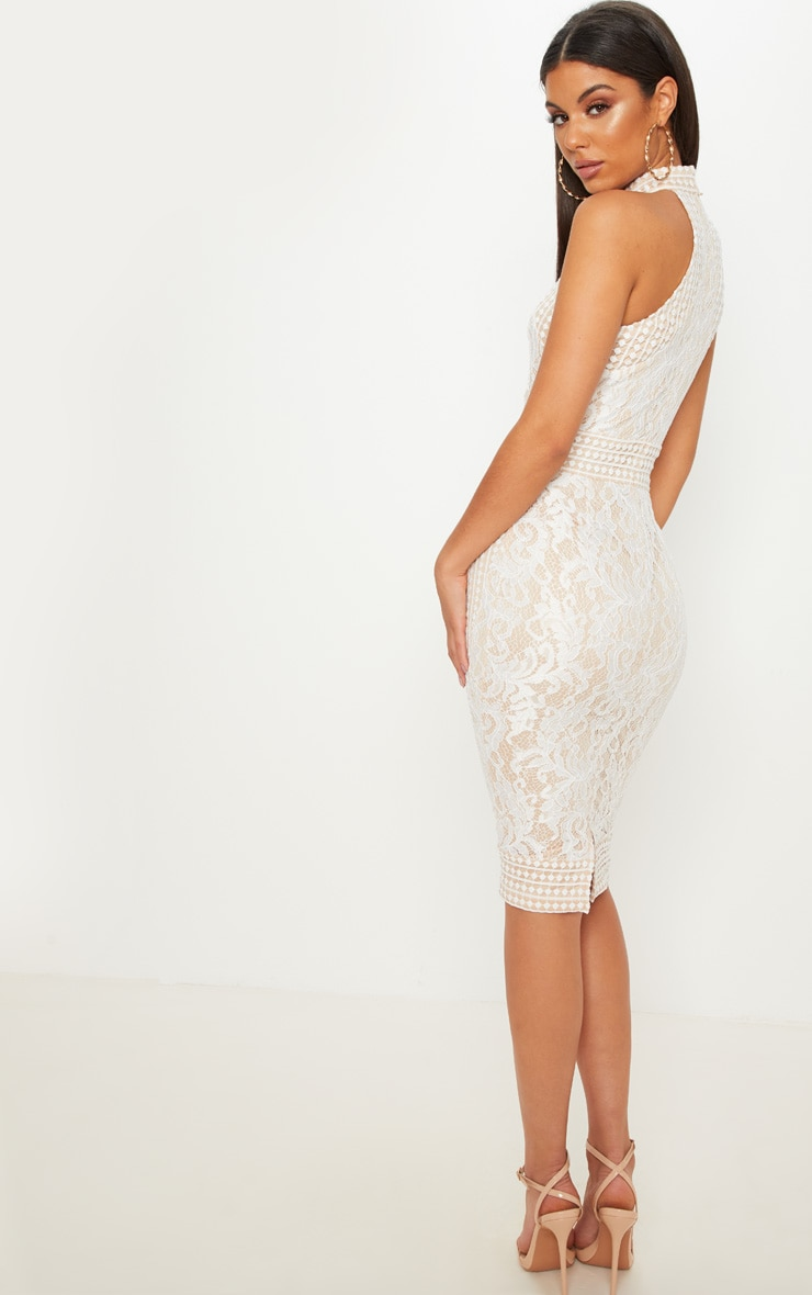 White Lace Crochet High Neck Midi Dress 2