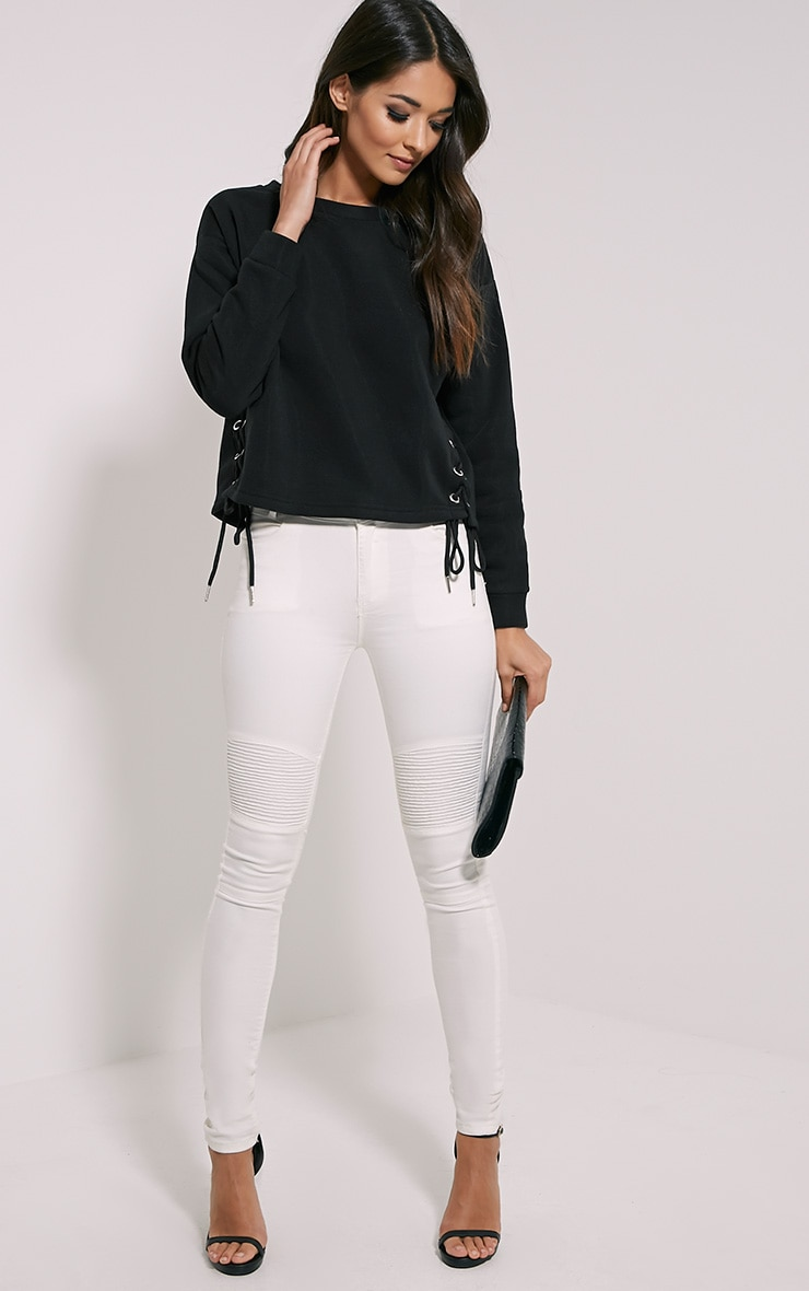Kiera Black Lace Up Side Sweatshirt 3