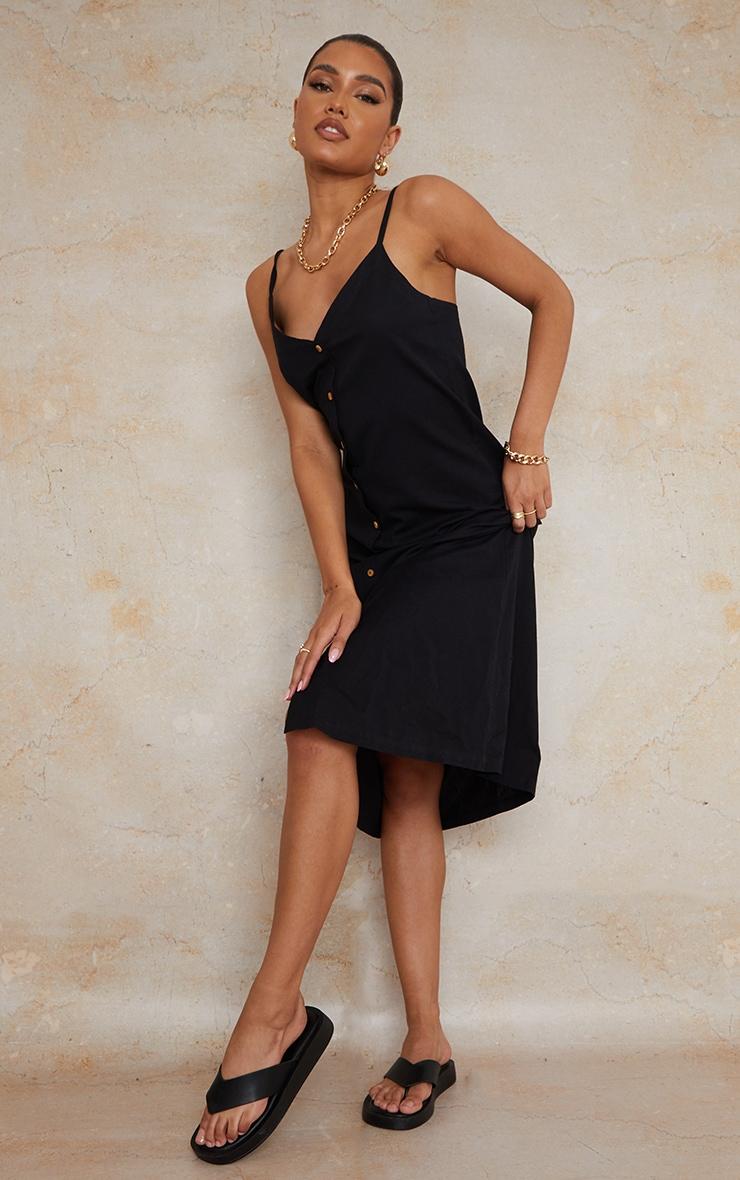 Black Linen Wooden Button Down Strappy Slip Maxi Dress 1