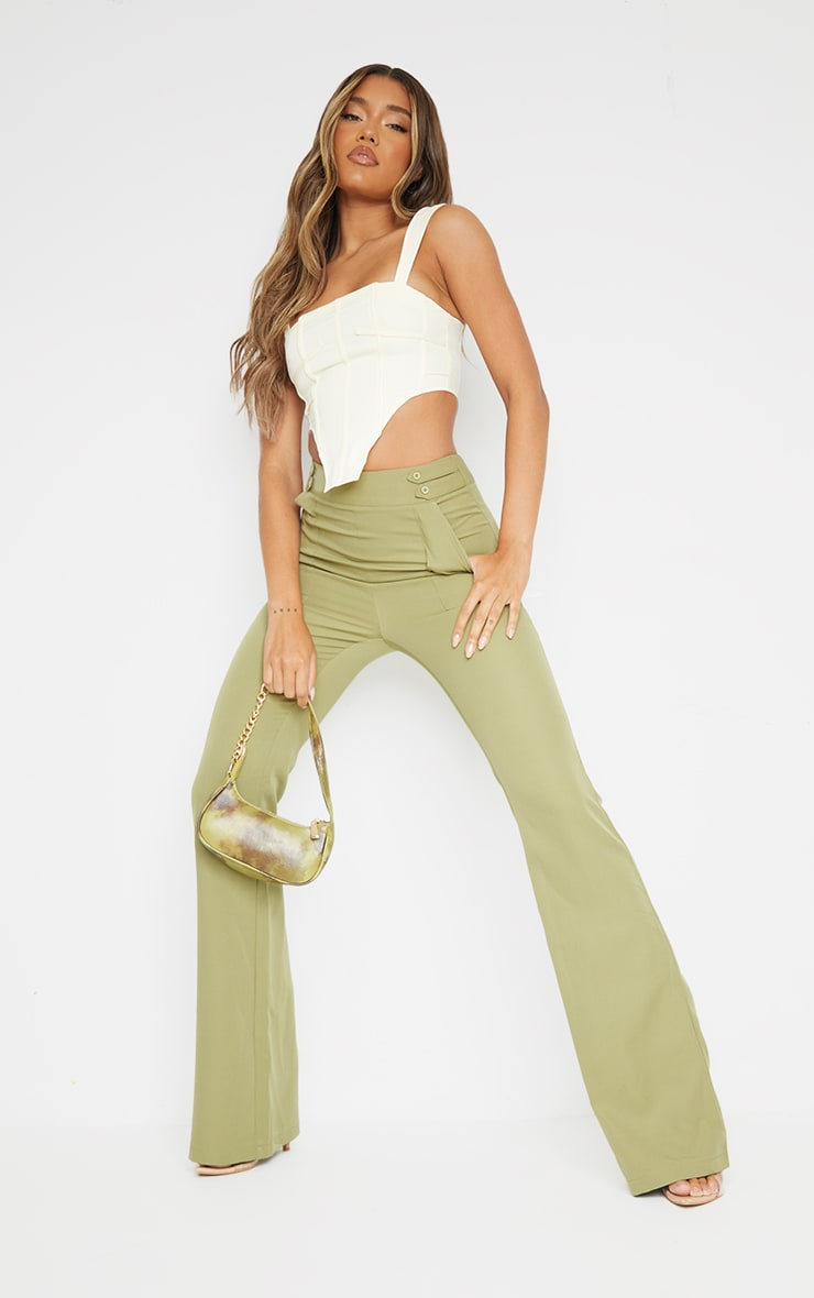 Sage Green Woven Double Button Detail Wide Leg Trousers 1