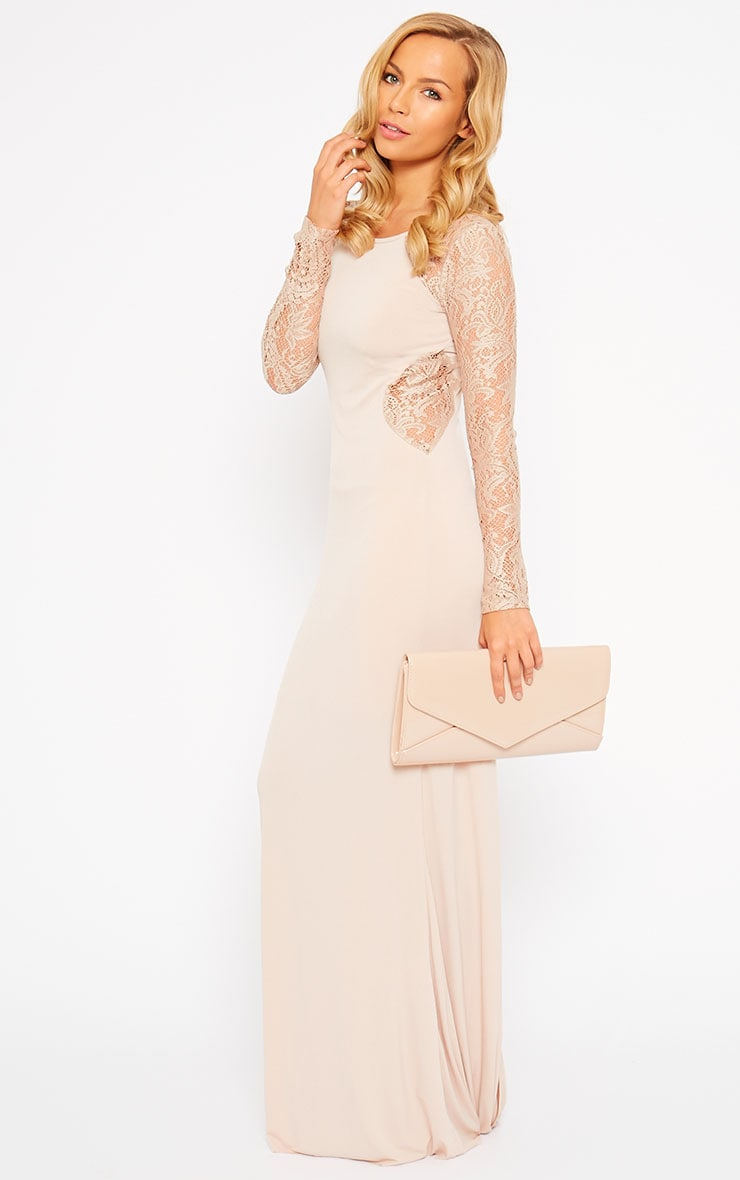 Debbie Nude Lace Insert Maxi Dress 1
