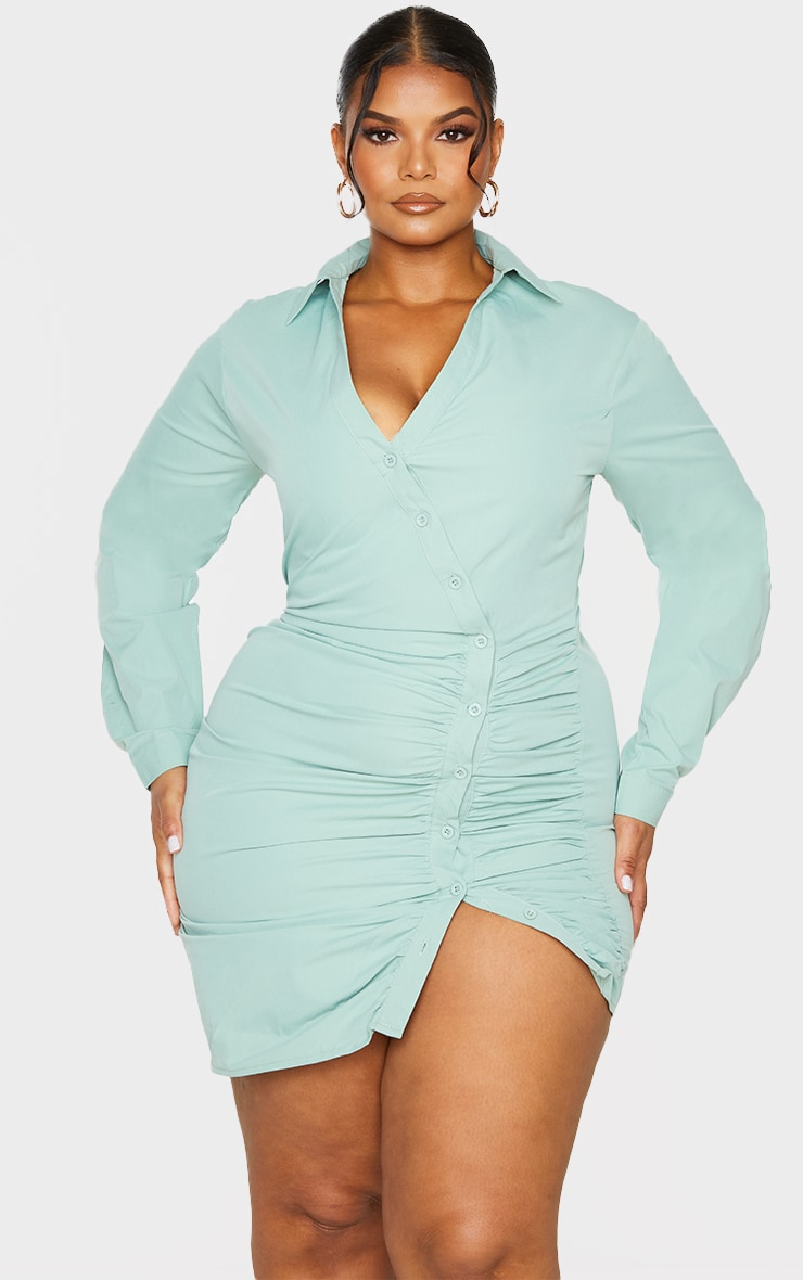 Plus Sage Green Ruched Shirt Dress 1