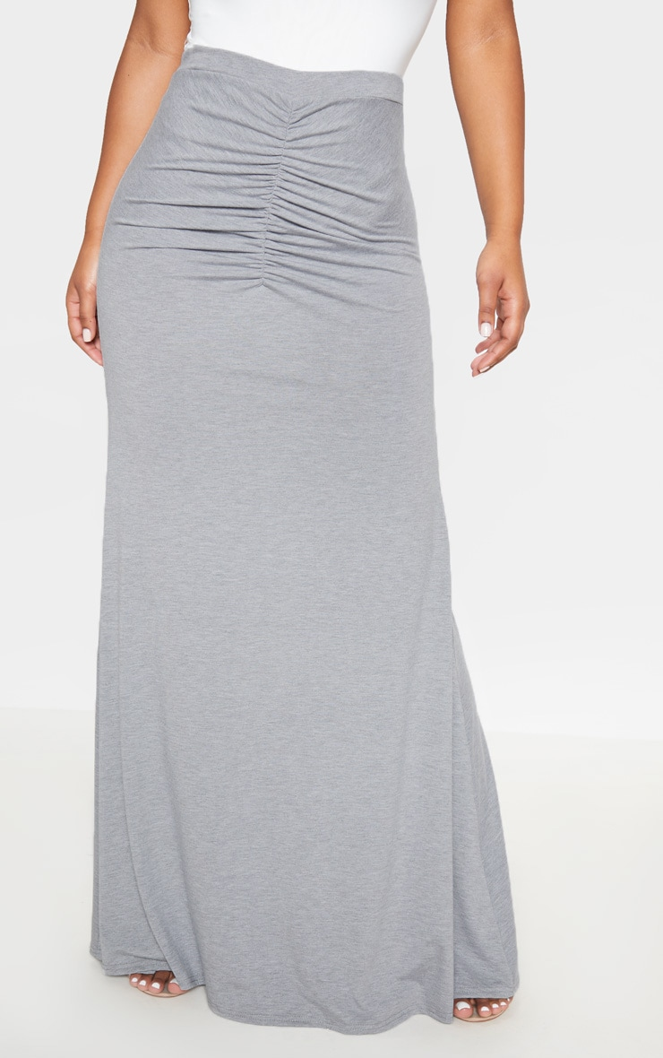Grey Ruched Detail Maxi Skirt  2