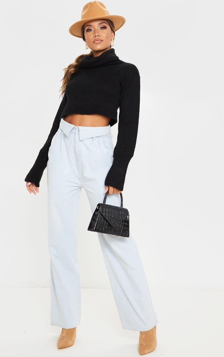 Black Roll Neck Cropped Sweater 4