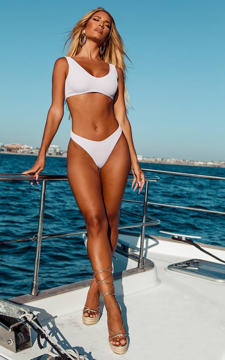 Lilac Crinkle High Leg Mini Bikini Bottom 3