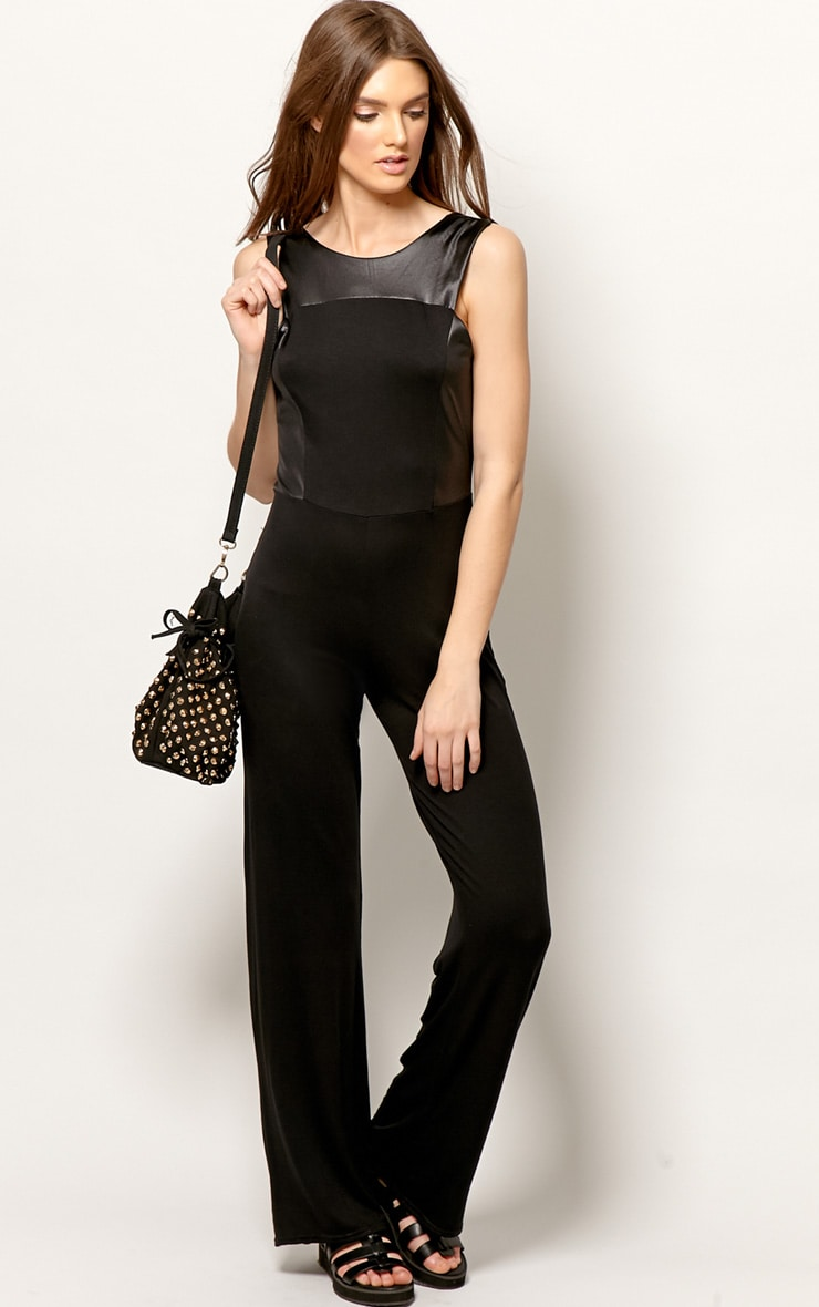 Evie Black & Leather Panel Jumpsuit 5