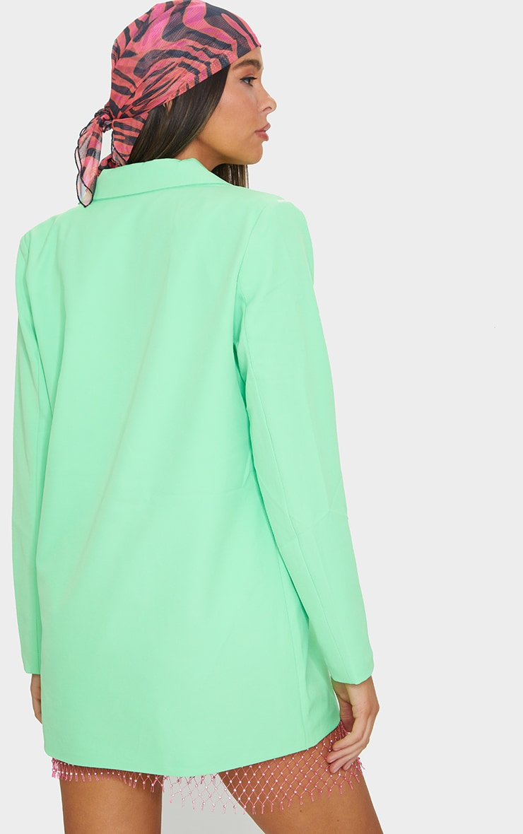 Bright Green Oversized Double Breasted Covered Button Blazer 2