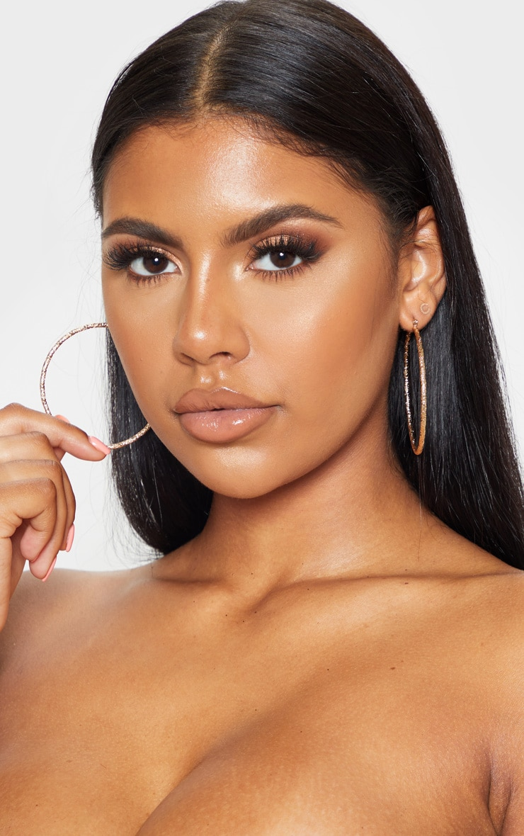 Gold Textured Hoops 1