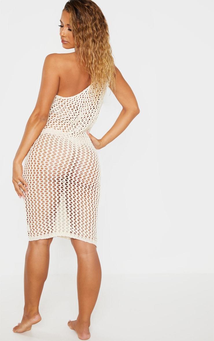 Cream Asymmetric Crochet Knit Dress 2