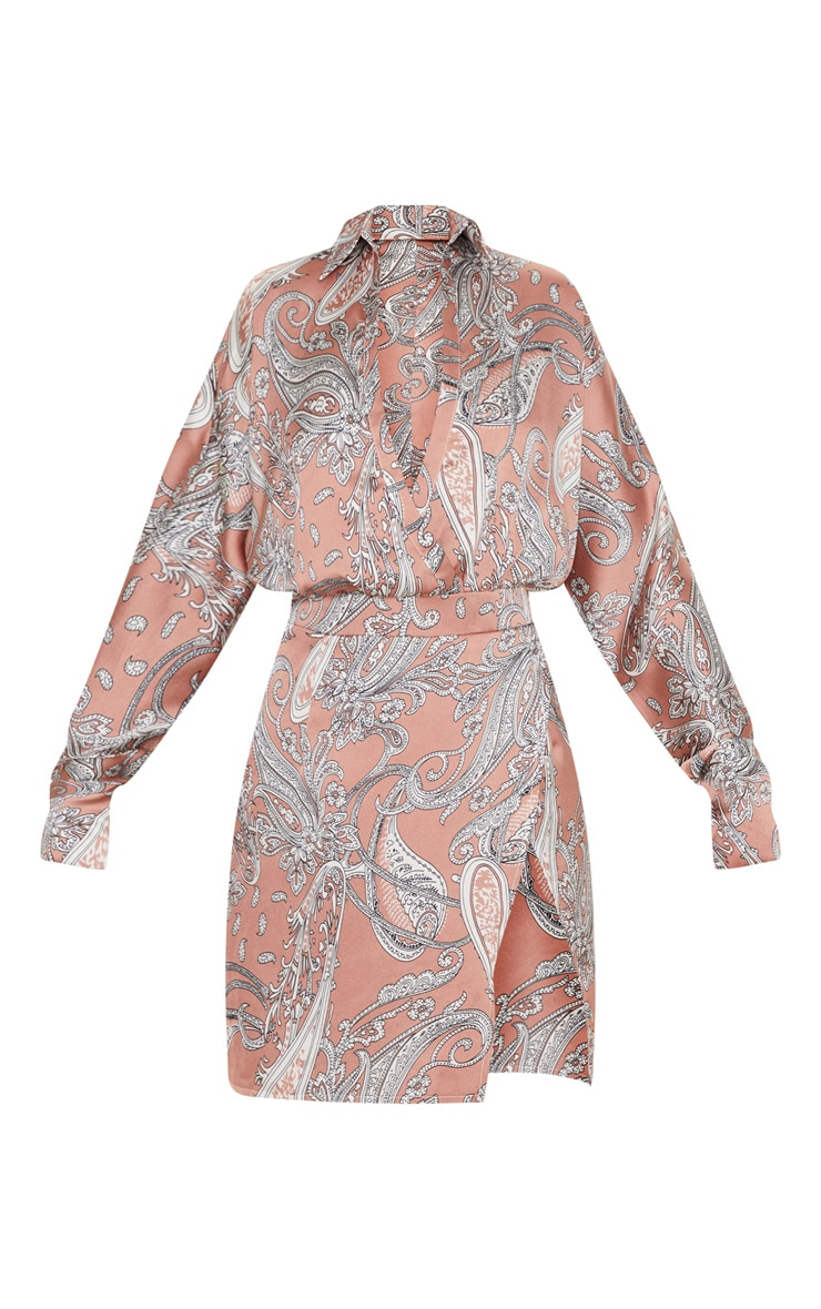 Dusty Pink Paisley Print Plunge Front Bodycon Dress 3