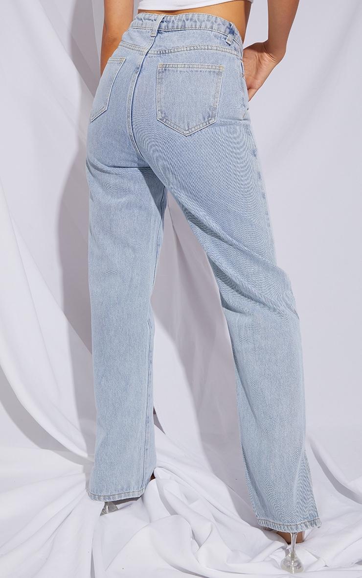 Petite Light Blue Dip Waist Split Hem Denim Jeans 3