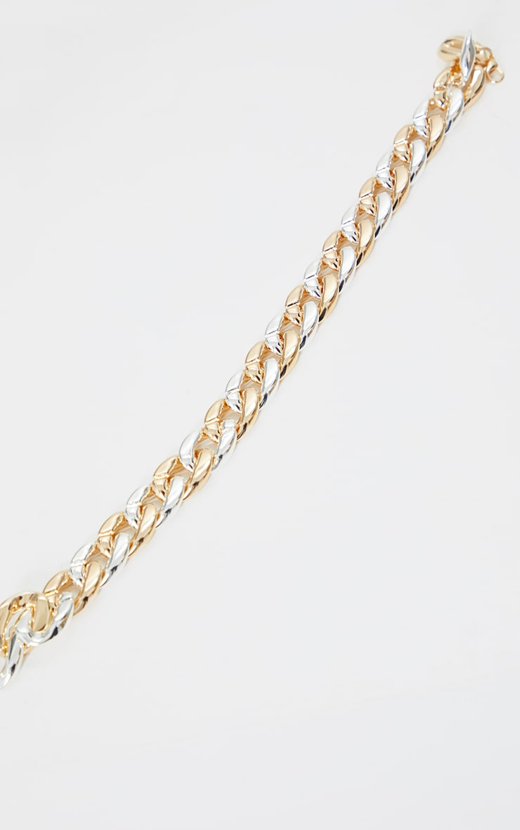 Gold Mixed Metal Chunky Chain Necklace 3