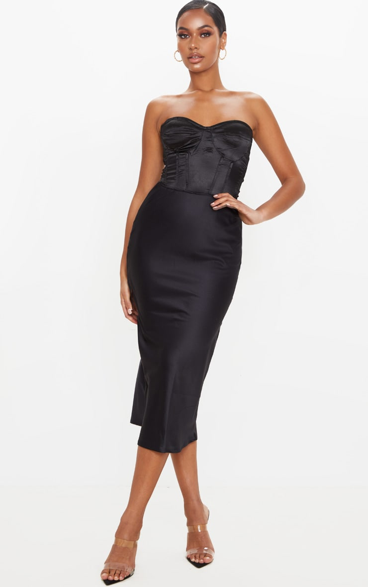 Black Satin Midi Skirt 1