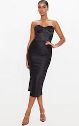 Black Satin Midi Skirt 1