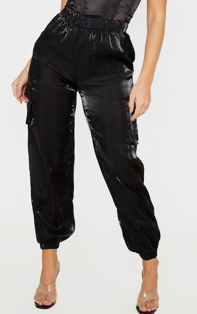 Black Satin Cargo Pocket Jogger
