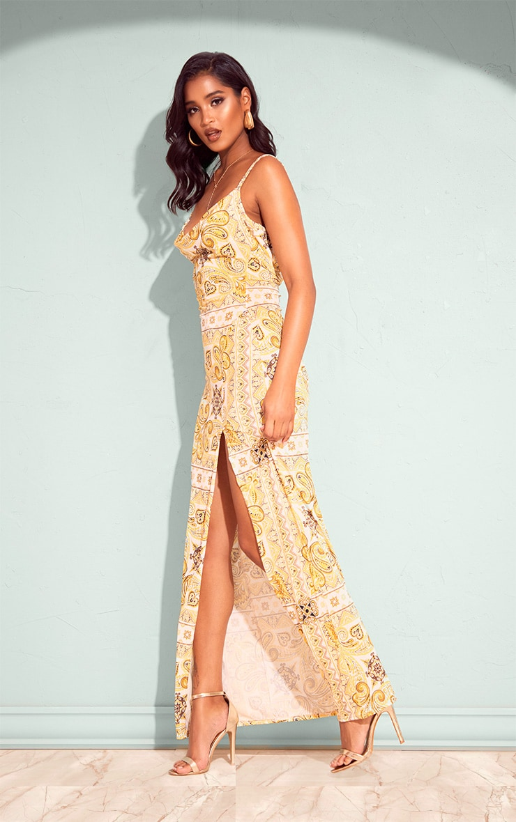 Yellow Tile Print Cowl Neck Maxi Dress 3