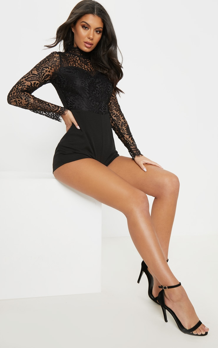 Black Lace Top Long Sleeved Playsuit 4