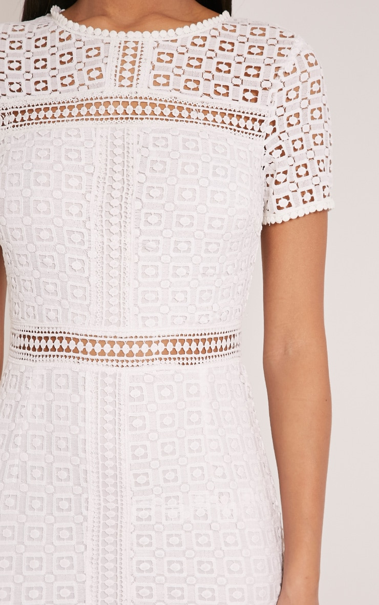 Midira White Crochet Lace Midi Dress 6