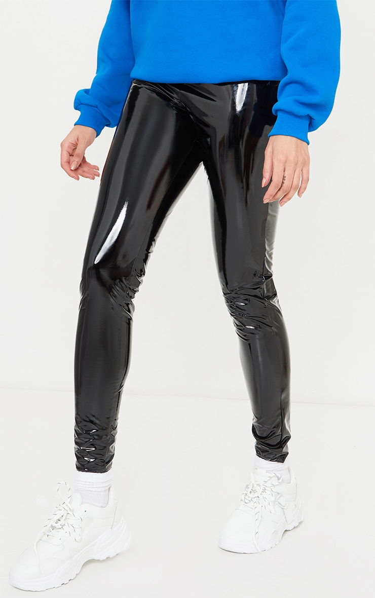 Tall Black Vinyl Pocket Detail Skinny Pants 2