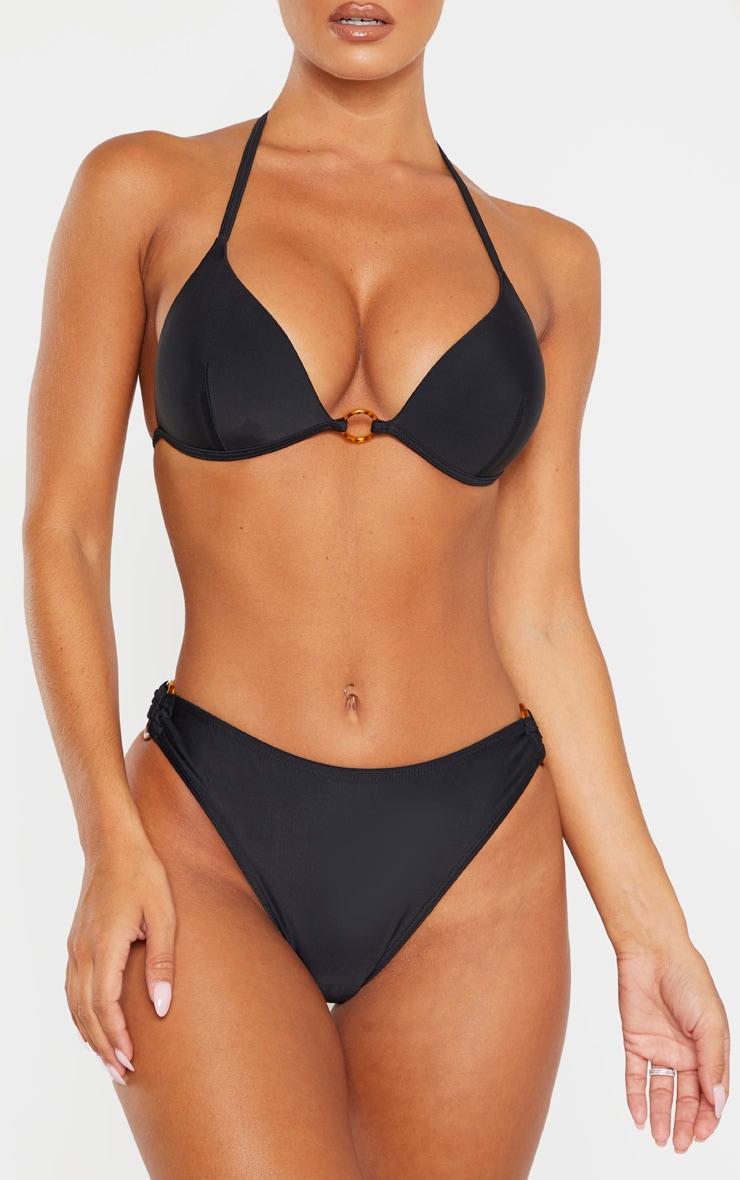 Bas de bikini noir à anneaux écaille de tortue 1