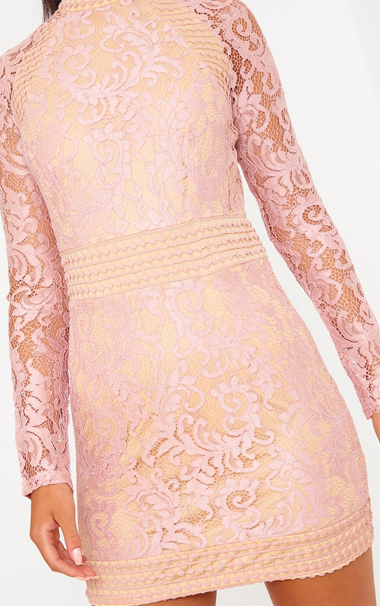 Dusty Pink Lace High Neck Bodycon Dress 5