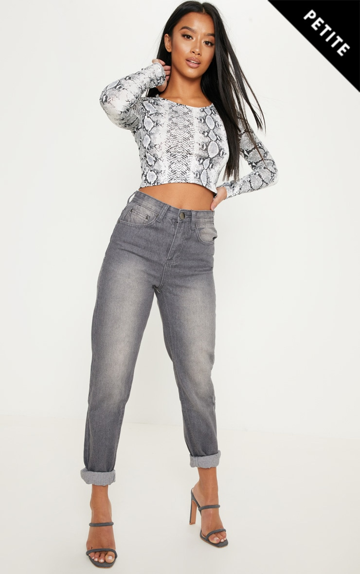 Petite Charcoal Mom Jeans 1