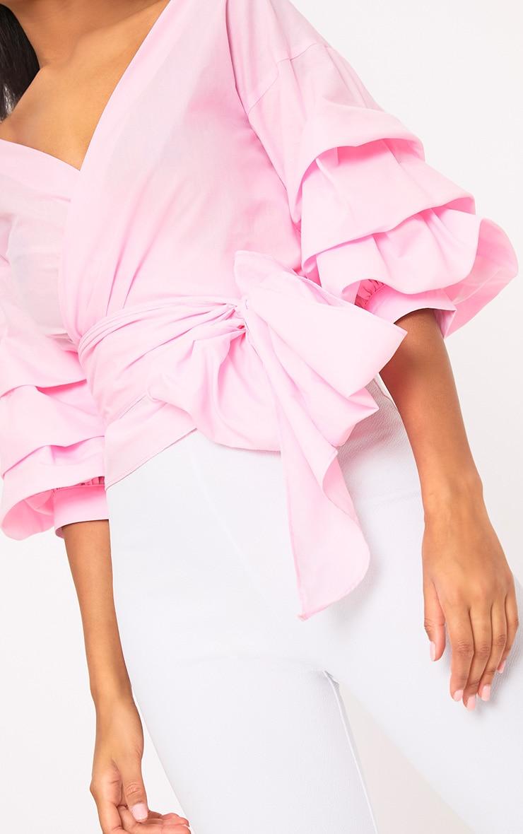 576f6f6b9e6012 Marlow Baby Pink Oversized Ruffle Sleeve Low Shoulder Shirt. Tops ...