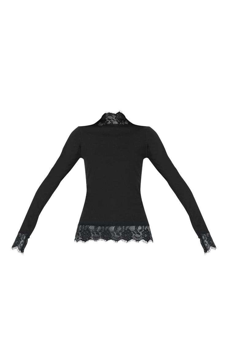 Black Lace Trim Long Sleeve Top 3