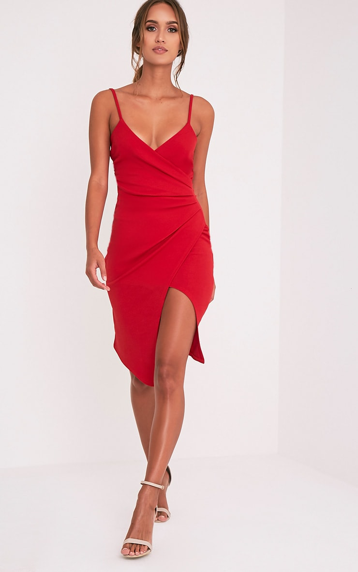 Lauriell robe midi rouge en crêpe cache-cœur 1
