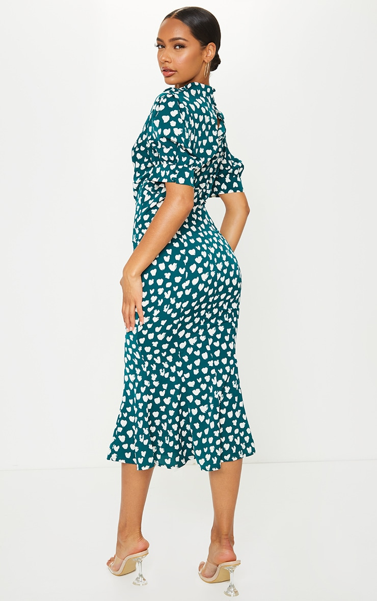 Emerald Green Dalmatian Print Puff Sleeve Cowl Neck Midi Dress 2