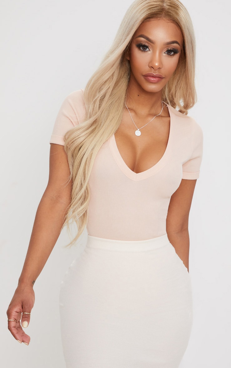 Shape Nude Ribbed Plunge Short Sleeve Bodysuit 1