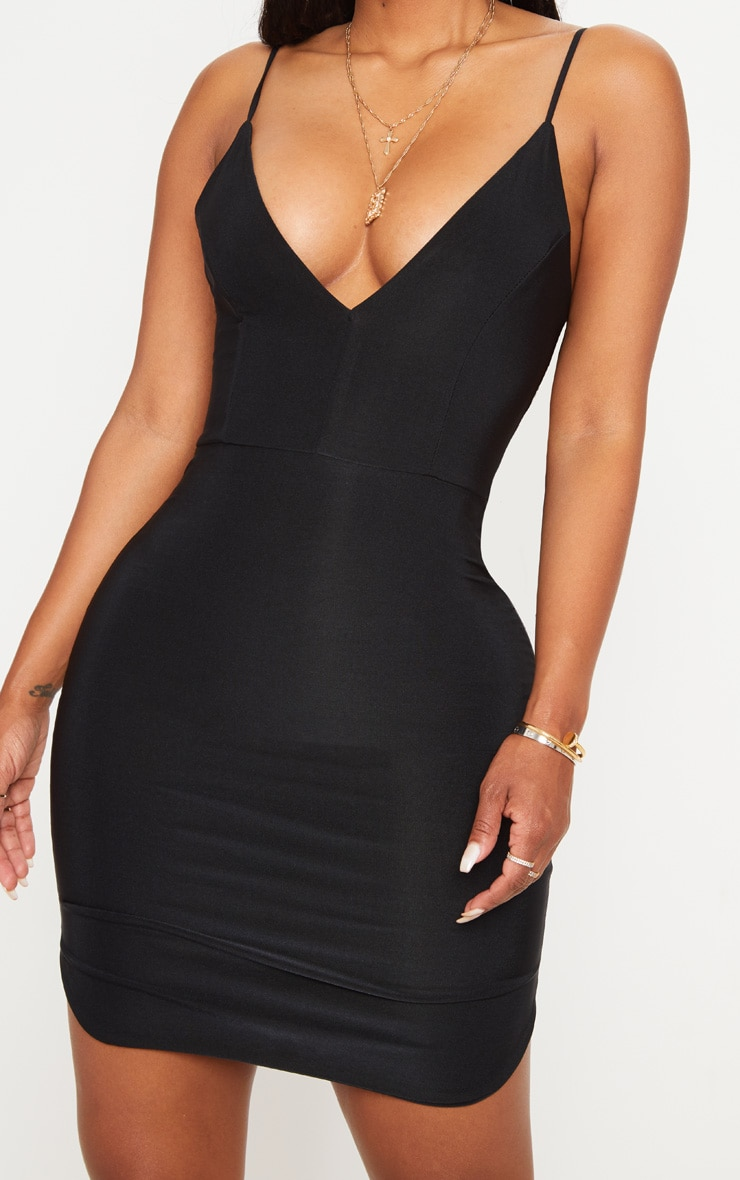 Shape Black Slinky Plunge Strappy Bodycon Dress 4