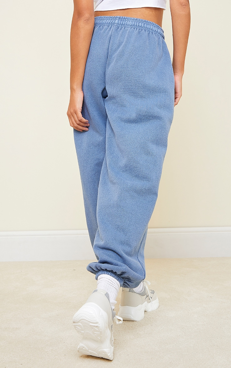 Blue Washed Effect Casual Joggers 3