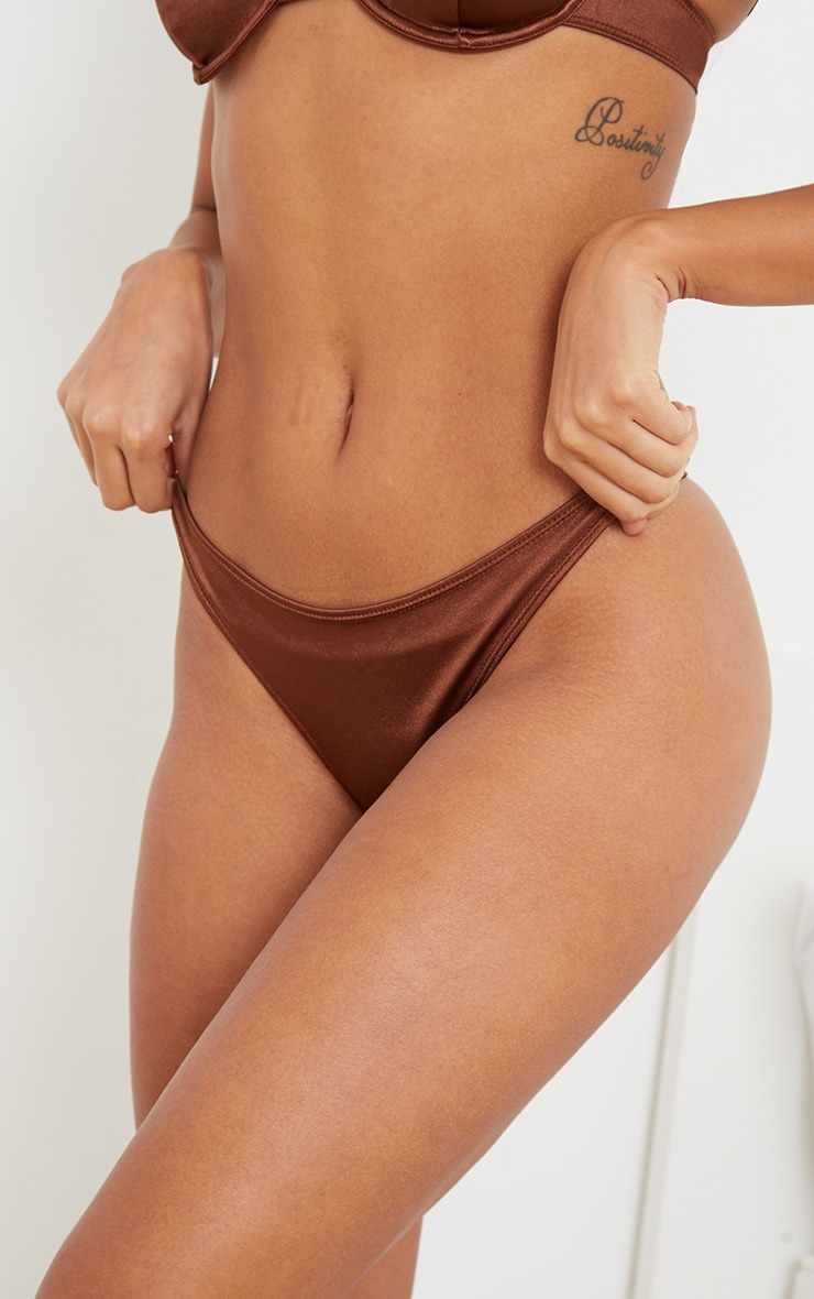 Chocolate Stretch Satin Thong 4