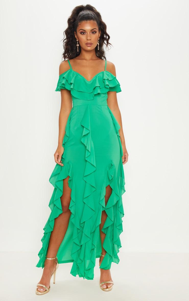 c1aba5605855 Bright Green Cold Shoulder Ruffle Detail Maxi Dress image 1