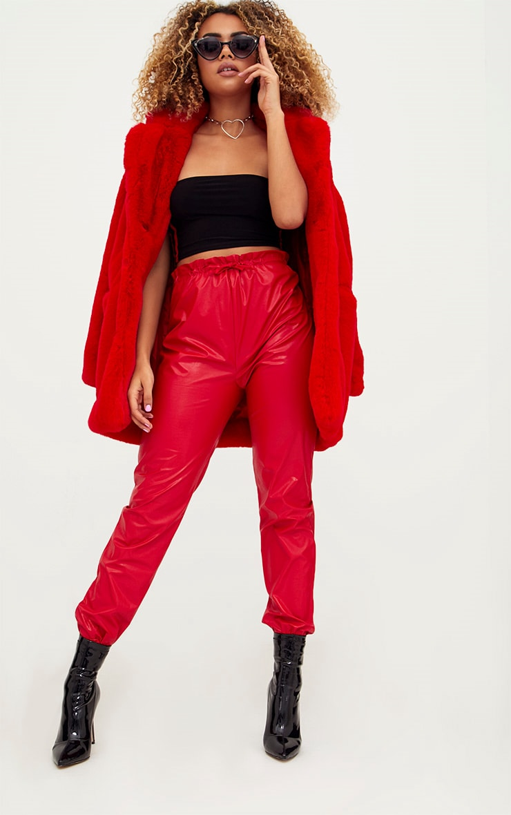 Red Faux Leather Paperbag Joggers 1