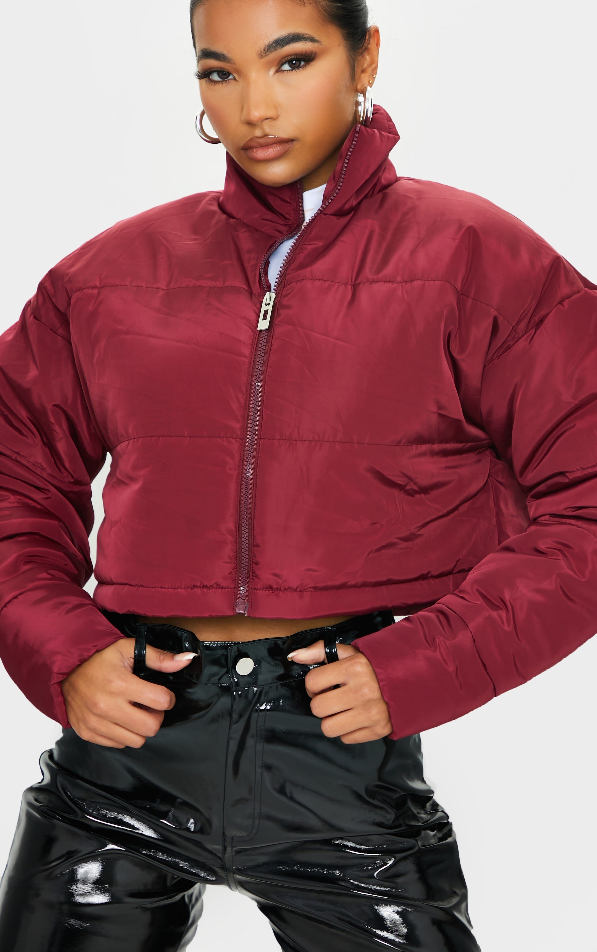 Maroon Nylon Super Cropped Toggle Hem Puffer Jacket 4