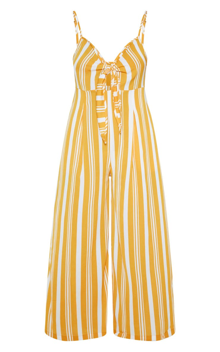 Yellow Strappy Stripe Print Jumpsuit 3