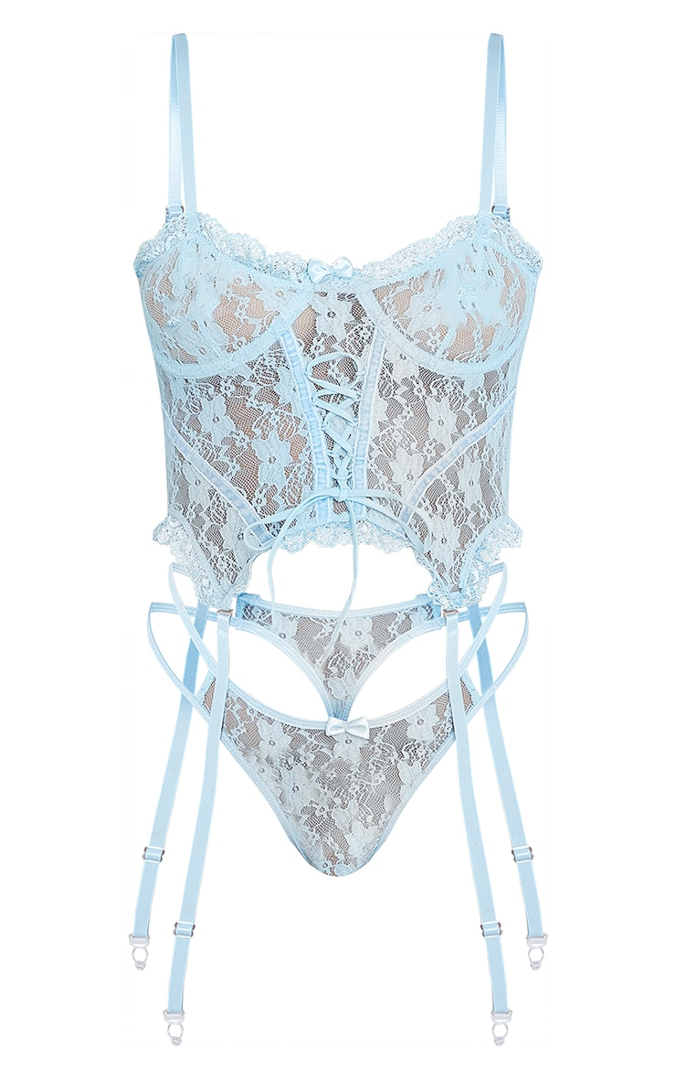Baby Blue Frill Edge Lace Up Corset And Thong Lingerie Set 5