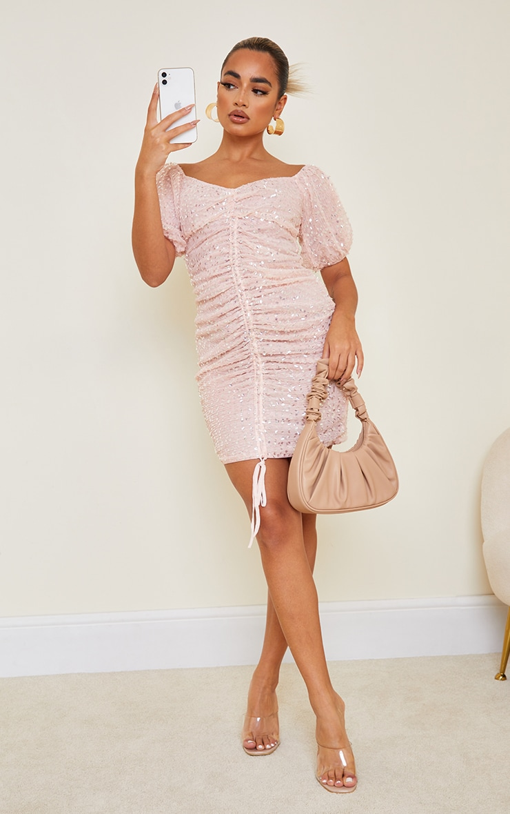 Petite Dusky Pink Sequin Ruched Detail Bodycon Dress 3