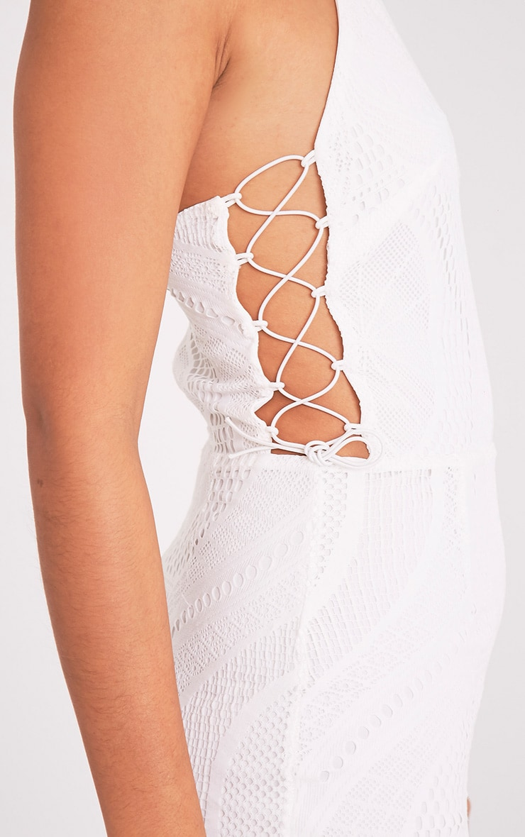 Kaitlan White High Neck Lace Up Side Bodycon Dress 6