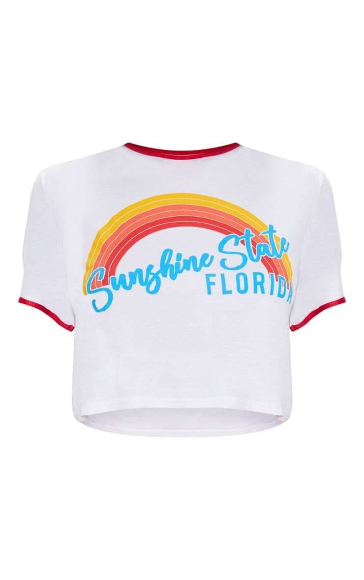 White Sunshine State Printed Crop T Shirt 3