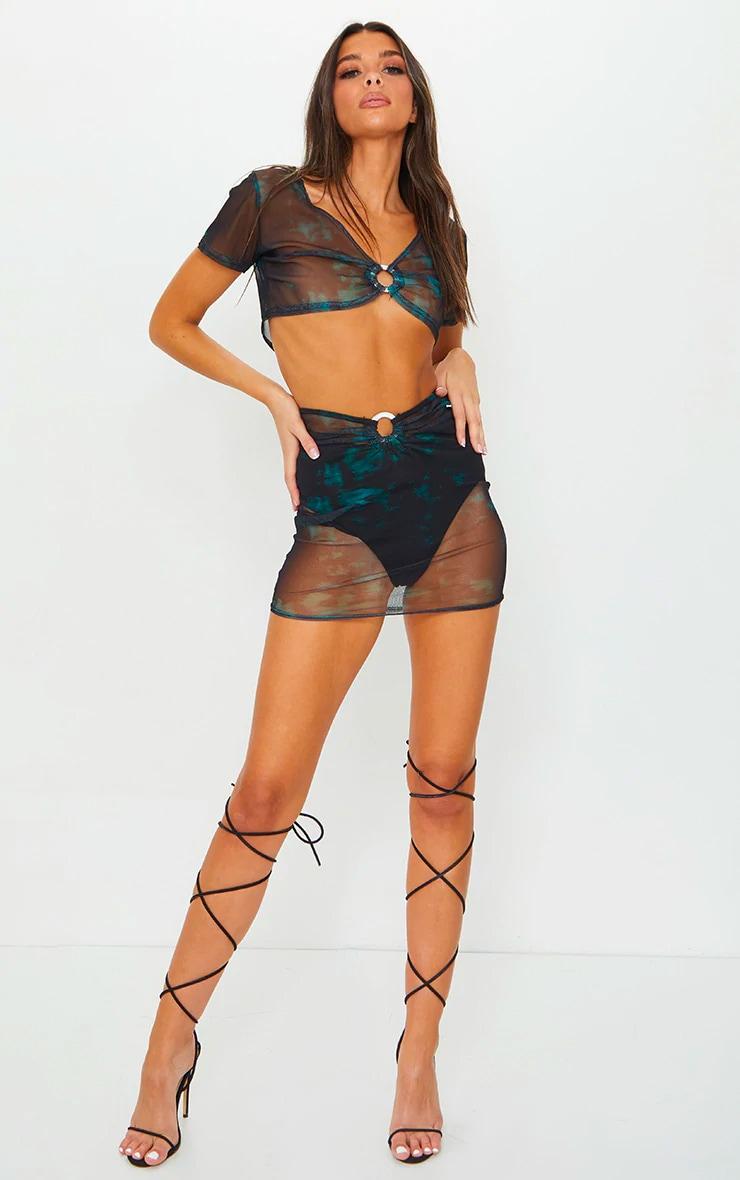 Teal Tie Dye Print Mesh Ring Detail Bodycon Mini Skirt 1